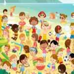 Найдите двух близнецов на пляже, среди большого количества детей, проверьте себя на внимательность.